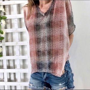 CAbi Top blouse sheer animal print boxy Shirt
